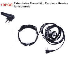 10PCS Extendable Throat Microphone Mic Air Tube Earpiece Headset PTT for Motorola 2 Way Radio GP300 EP450 Mag One A8 CP200 CP185