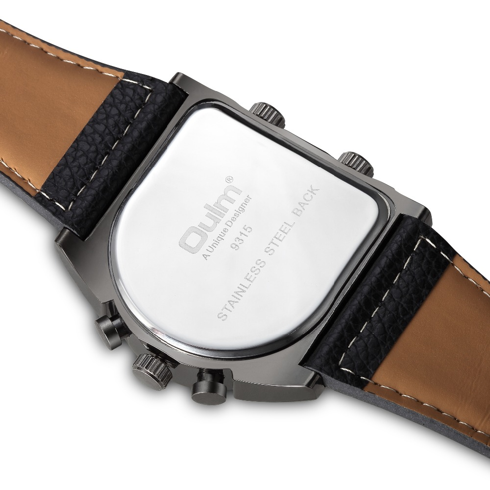 OULM Sport Watch Men Quartz Analog Clock 3 Time Zone Sub-dials Design Big case Oversize Fashion Black Wrist Watches relogio 16