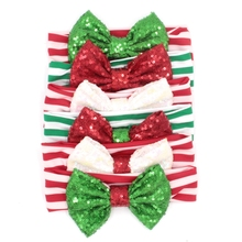 6pcs/lot New Arrival Christmas Gift Headband 5'' Big Sequin Bow Striped Elastic Headband For Girls & Kids 2017 Christmas Hair(China)