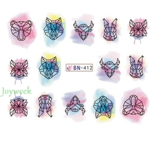 Water sticker for nail art decoration slider watercolor ink cattle tiger rabbit nail design decal manicure lacquer accessoires 7(China)