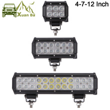 "XuanBa 12"" inch 72W Led Light Bar For ATV 4x4 Offroad 18W Work Trucks 4WD Auto DRL 12V Focos Off road Motorcycle 36W Barra Light(China)"