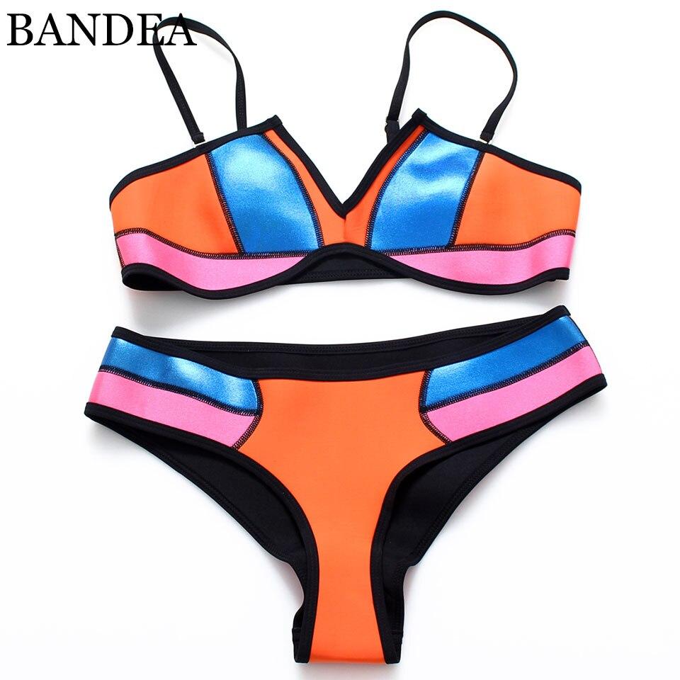 BANDEA Sexy 2017 Bathing Swimsuit Women Low Waist Beach Bikini Neon Swimwear Blue Neon Patchwork Bikini Set<br><br>Aliexpress
