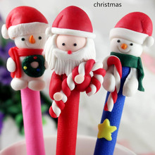 <10pcs/lot>Merry Christmas gift soft ceramic pen craft for children kids santa claus angel princess patterns party favor supply