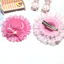 Pet accessories Lovely Pink Lace Rose Pets Hat hairpin / Poodles Dogs / Cat Grooming For Girls Jewlery. Holiday Hat gift