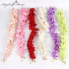 Simulation wisteria flower silk artificial vine flower hydrangea rattan DIY wedding decoration for wall hanging hotel 11pcs/lot(China)