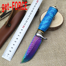 get-FORCE New Damascus Hunting Knives Survival Fixed Blade Knife Camping Multi Tools Leather Sheath,Outdoor Tactical Knife EDC