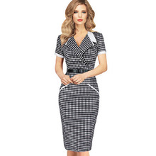 2017 Fashion Womens Summer Vintage Dress Elegant V Neck Plaid Wear to Work Party Business Cocktail Sheath Bodycon Pencil Dresses