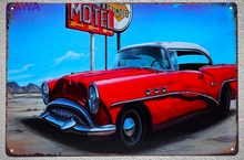 1pc Motel Classic old car  plaques car commercial tin plate vintage tin Sign Bar Wall Decoration shop Metal garage Man cave
