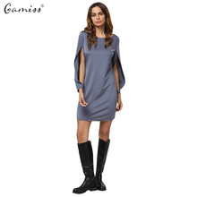 Gamiss Summer Autumn Casual Dress Cut Out Pure Color Vestidos Brief Round Collar Long Sleeve Mini Dress Women Clothing