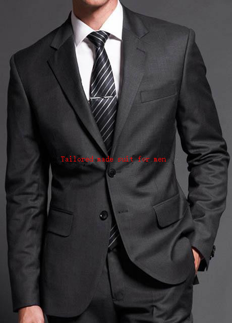 Custom made New Fashion Dark Gray Notch lapel two button Groom's suits/Wedding Tuxedo For Men/Best man Suits( jacket+Pants+tie)