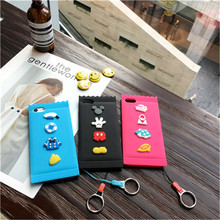 Coque Cute Cartoon Candy Form Cover DIY 3D Mickey Mouse Donald Duck TPU Silicone Soft Lanyard Phone Case For iPhone 6 6S 7 Plus