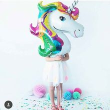 1pcs 116*87cm Anagram Rainbow Unicorn Foil Balloons Birthday Party Decorations Wedding/Halloween/Christmas helium Supplies globo(China)