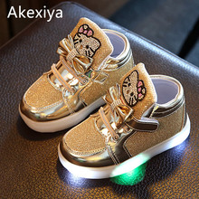 Akexiya New Cheapest Spring Autumn Winter Children's Sneakers Kids Shoes Chaussure Enfant Hello Kitty Girls Shoes With LED Light