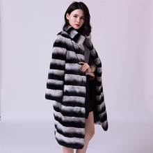 75cm Long Russian Sable Fur/Chinchilla Fur Coat/Grey Striped Outwear/Plus Size Custom Fur Coats Men Fur Coat Jacket(China)