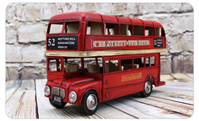 Classic Handmade Bus Red Double Decker Bus British Bus GB Steel Iron Sheet Model 1:12 Retro Metal Bus Model Decoration