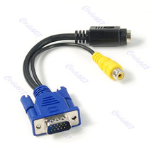 1 PC VGA Male to TV S-Video RCA AV Converter Cable Adapter