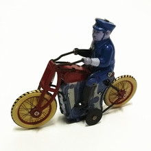 Antique Style Tin Toys Wind Up Toys Robots iron Metal Models for Children/Adult Home Decoration Craft MS459 policeman bicycle(China)
