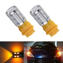 2pcs 3056 3156 3057 3157 p27w T25 led Bulbs Cree LED Chips -For car Rear Brake Lights Turn Signal Tail Lamps Yellow Amber