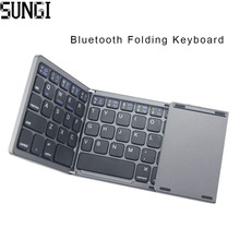 Ultra Thin Mini Bluetooth 3.0 Foldable Keyboard Wireless Folding BT With Touchpad Keyboard For Tablet PC Laptop ipad Mobilephone(China)
