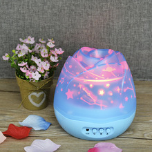 Projector Night Light Romantic Rose Buds Shaped Rotating Children Baby Sleep Lighting Sky Star Light Fashion Bedroom Night Lamp