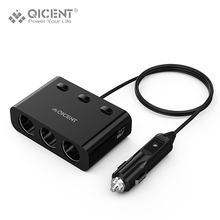 QICENT USB Car Charger 3 Sockets Car Cigarette Lighter 120W with 2 USB 15.5W Independent Switch USB Car Splitter Charger for 12V(China)