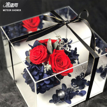 Acrylic Mirror Square Transparent Crystal Flower Box Eternal Flowers Packaging Gift Valentine Festival Festive Party Suppli