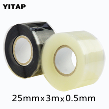 2roll x 25mmx 3m x 0.5mm Top sale multi colors silicone pipe Vulcanizing repair rescue self adhesive silicone tape(China)