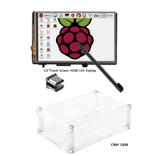 "3.5"" LCD HDMI USB Touch Screen 320x480 to 1920x1080 LCD Display Audio with clear case for Raspberry Pi 3 Pi 2(Play Game Video)(China)"