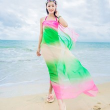 Fashion Summer Scarves Beach Two Tone Chiffon Shawls Scarf High Fashion Swimwear Bikini Cover Up Hawaiian Sarong Dress HY(China)