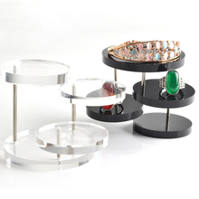 New Jewelry Organizer Jewelry Display Stand Clear 3 Tray Acrylic Earring Bracelet Necklace Display Stand Shelf(China)