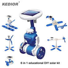 2017 New 6 In 1 Educational DIY Solar Robot Toy Solar Helicopter Plane Boat Windmill Assembling Environmentally Science Blocks