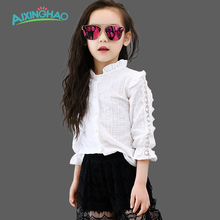 Aixinghao Girls White Blouse Cotton School Girl Blouse For Girls Shirts Tops Kids Clothes School Uniforms 6 7 8 9 10 Years