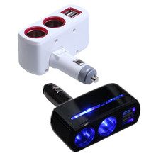 Universal 2 Ways Car Auto Cigarette Lighter Socket Splitter Power Adapter 2.1A / 1.0A 80W Dual USB Car Charger with LED Light(China)