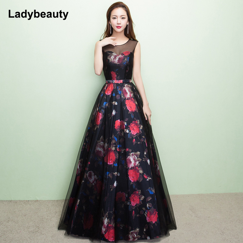 Ladybeauty 2019 New Gorgeous Style Dress Evening Prom Party Floral Print Pattern Vestido de Festa Sexy Long Style Dress