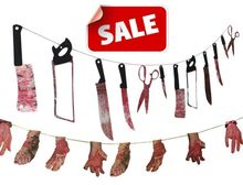 Halloween prop haunted house decor torture bloody Body tools Body Parts garland banner Hanging Decoration 86inch(China)