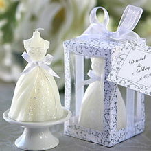 Hot Sale 1PCS New Gown Dress Design Art Candle White Elegant Wedding Bridal Bride Candles Wedding Party Supplies Home Decors