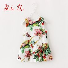 Toddler Girls Summer Dresses 2017 Children Clothing Butterfly Floral Flower Printed Girl Tank Dress White Cute Kids Girl Clothes