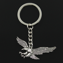 Fashion 30mm Key Ring Metal Key Chain Keychain Jewelry Antique Silver Plated hawk eagle 28*50mm Pendant(China)
