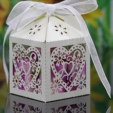 100 pcs Cheap Sale Red/ White/ Gold/ Navy Blue Laser Cut Wedding Favor Boxes Candy Box Casamento Wedding Favors And Gifts