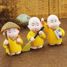 3pcs/set China cultural little Monk desktop Decoration crafts Home Cartoon display doll gifts Car shake head Car decor 4(China)