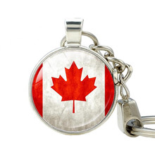 Canadian Flag Logo keychain Canada Day Celebration Keychains Silver Plated Charms Key ring Jewelry Father's Day Gift(China)