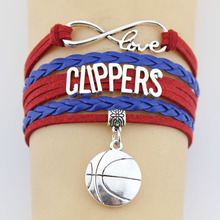 (10 Pieces/Lot) Infinity Love Clippers Bracelets Basketball Team Charm Handmade Rope Leather Weave Bangles For Women Men Jewelry