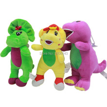 2017 Newest 17cm Barney & Friends Yellow Green Purple Dinosaur Cartoon Movie Soft Plush Stuffed Animals Doll Toys Christmas Gift(China)
