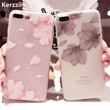 Kerzzil 3D Relief Cases For iPhone 6 6s Cherry Petals Flowers Soft Silicone Lace Leaves Cover For iPhone 6 7 6S Plus Back Capa