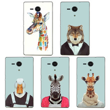 Lovely Cartoon Animal Head Design Phone Case Skin Cover White Hard Case Cover For Sony Xperia SP M35h C5303 C5302 Case