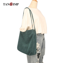 TANGIMP Solid Color Corduroy Handbags Vintage Big Eco Autumn Winter Ethnic Women Shoulder Shopping Bags Tote bolsa compra 2017(China)