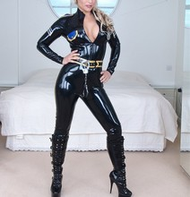 Buy 0.4MM Thickness Latex Policy Uniform Catsuit clothes Latex Wear Front Zip High Quality Latex Girls Suits Belt