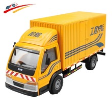 Alloy 1:50 Box Van Truck Diecast Vehicle Model Toy Container Rear and Side Door Open(China)