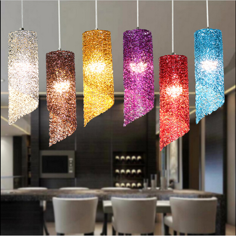 Modern lamps pendant lights aluminum lamp colorful  restaurant bar coffee dining room LED hanging light fixture<br>