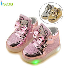 Kids girl luminous sneakers Shoes Spring Hello Kitty Rhinestone glowing Shoes for Girls Princes led sneaker children  EU 21-30